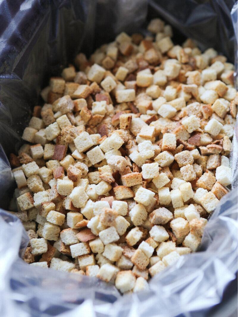 Bread pieces in crockpot