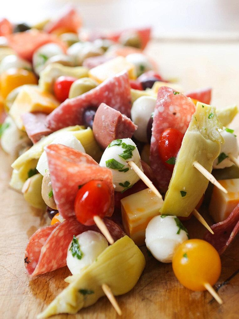 antipasto skewers with salami and artichokes and mozzarella