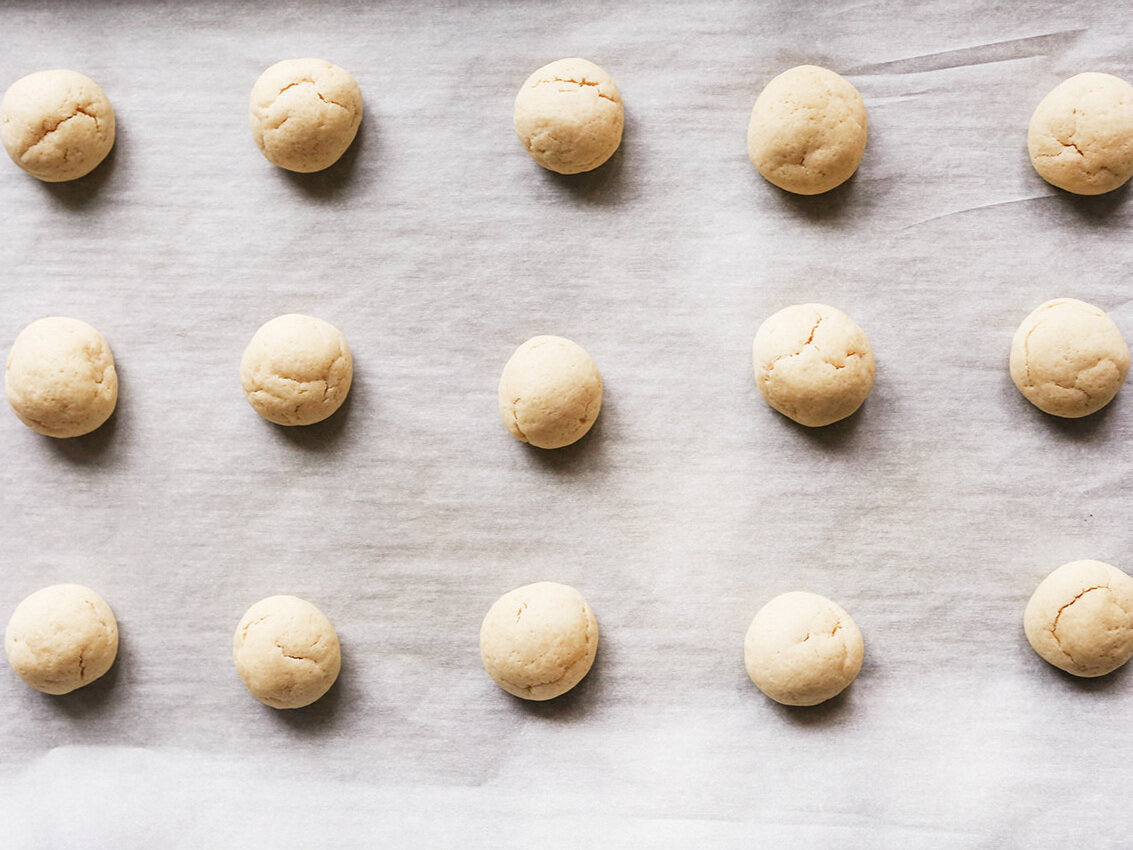 Italian Christmas cookies baked on baking sheet