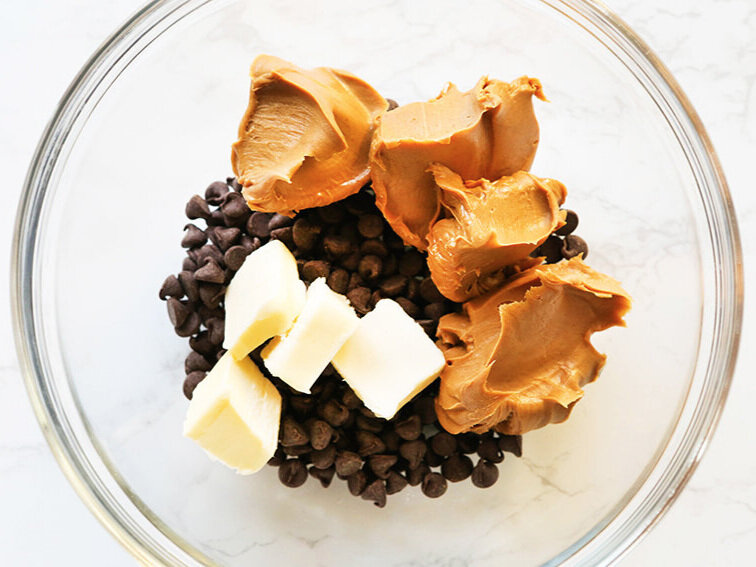chocolate chips, peanut butter and butter in mixing bowl