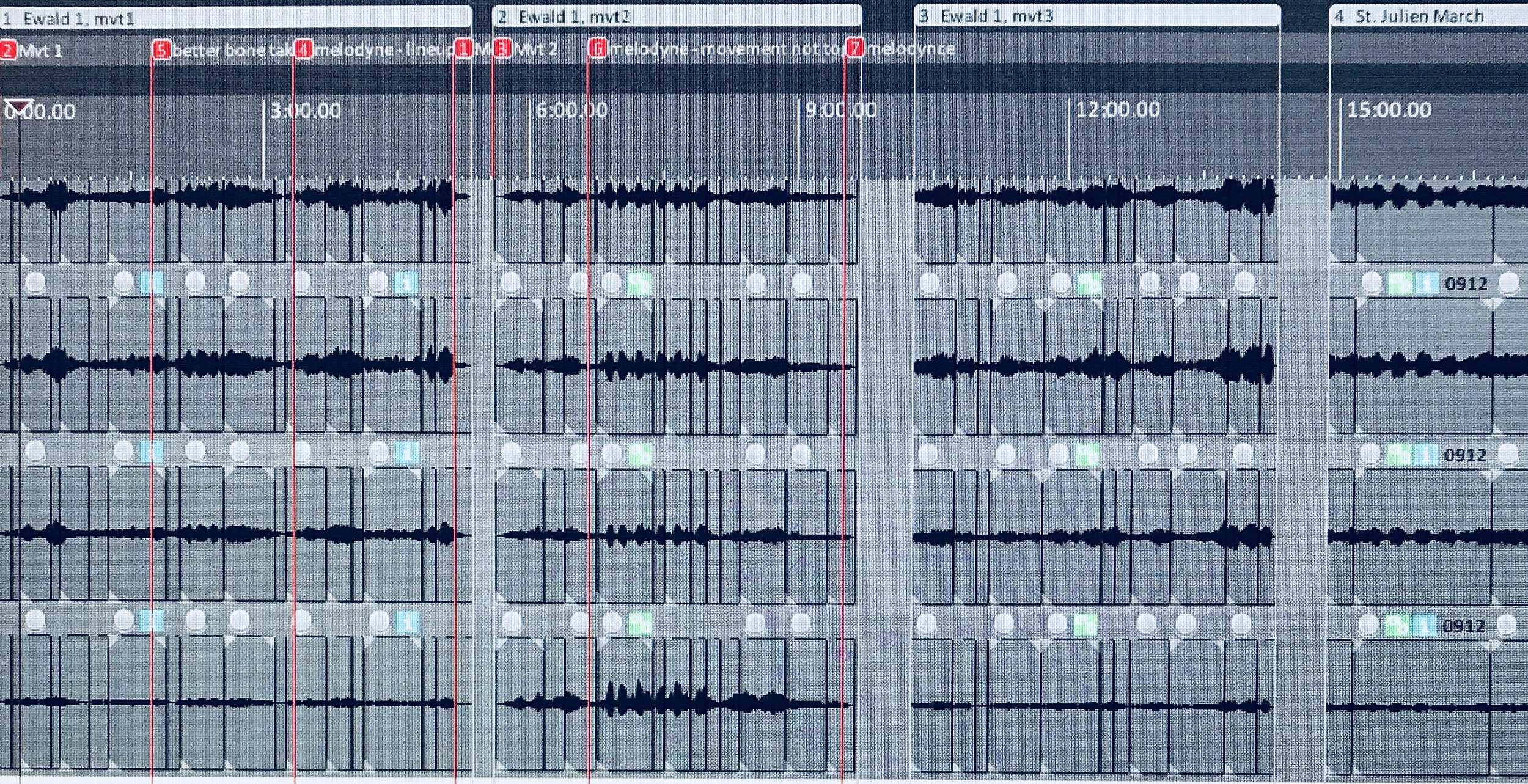 Edits to a recorded work, performed by the producer (me) in this case. This session was recorded by my friends at Arts Laureate.