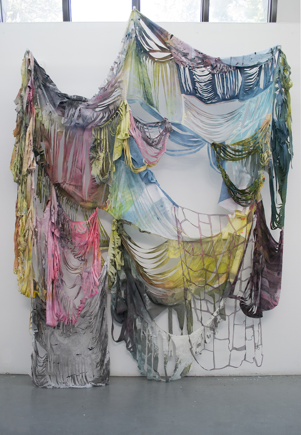 Unknown 1 – (to go well),  synthetic and natural dye on cotton, linen, and silk; dimensions variable, 2017.