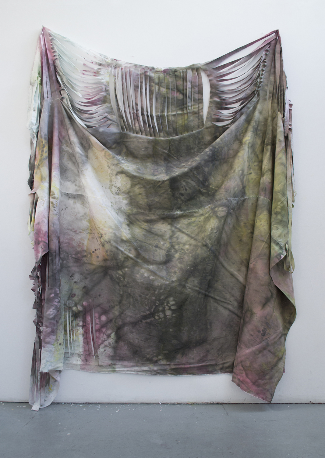Unknown 2 (Vestment),  synthetic and natural dye on cotton and lien, 14' x 7, 2017.