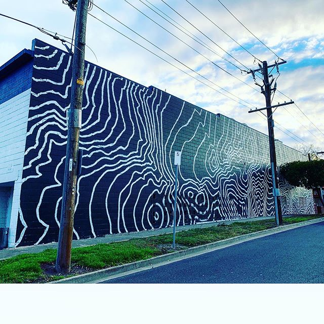 Finally got a wall up in the old stomping grounds 😁 Good test on the roller again too. Barwon River contour mappings for the Butcher's Club 🔪 #buffdiss #mural #geelong #contours