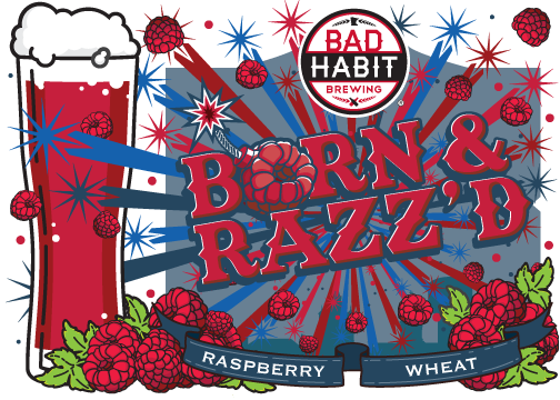BORN & RAZZ'D - Raspberry Fruited Wheat Ale | 6% ABVRaspberry wheat - released for the St Joe Fourth of July celebration!