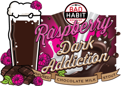 RASPBERRYDARK ADDICTION - Raspberry Infused Chocolate Milk Stout | 5.2% ABVWe infused our intensely dark, silky smooth chocolatey goodness known as Dark Addiction with loads of delicious raspberries.TAPPING ON VALENTINES DAY!