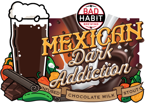 MEXICANDARK ADDICTION - Peppers and Cinnamon Infused Chocolate Milk Stout | 5.2% ABVWe infused our intensely dark, silky smooth chocolatey goodness known as Dark Addiction with cinnamon and peppers. For a sweet subtle heat from jalapenos, habaneros and smoked chipotles followed by a hint of cinnamon and chocolatey goodness.