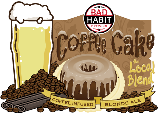 """COFFEE CAKEBLONDE ALE - Cold Press Coffee Infused Blonde Ale with Cinnamon 
