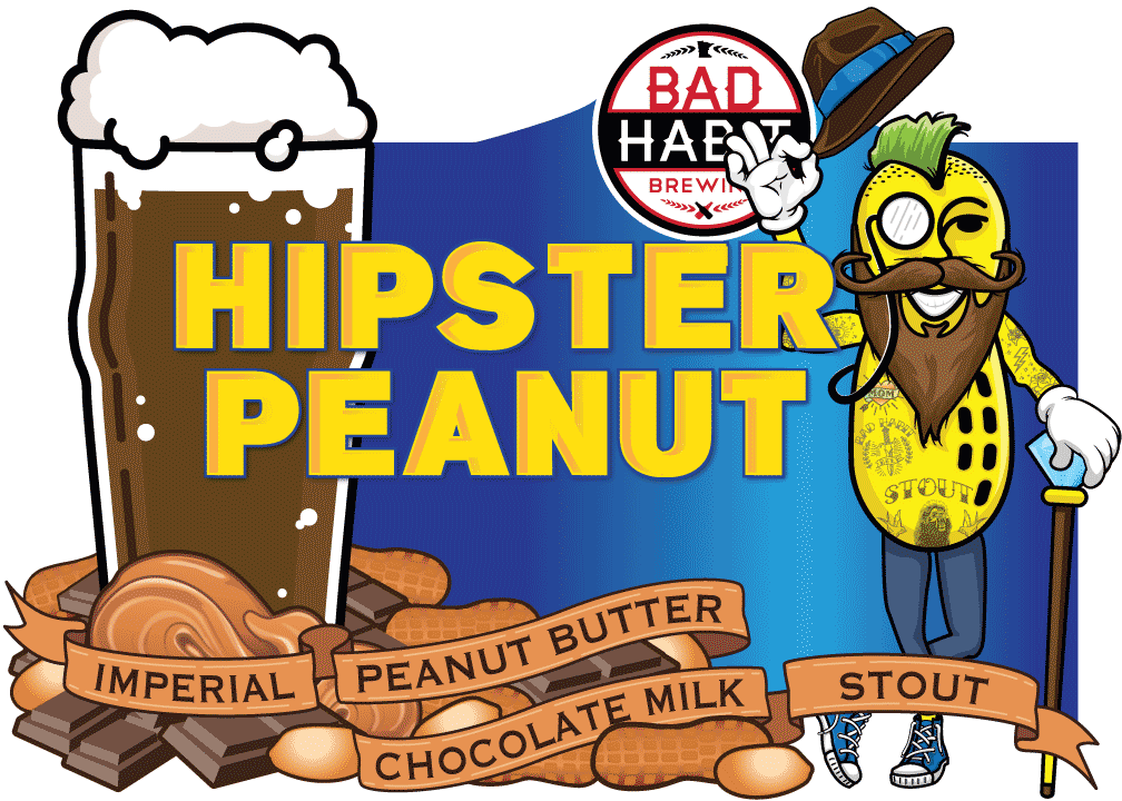 HIPSTERPEANUT - Imperial Peanut Butter Chocolate Milk Stout | 9% ABVBrewed with our good friend Damien of the Beer People, this is without a doubt our trendiest beer. It has all the crazy trends the youngsters are into these days. It has peanutbutter, it has lactose, it has chocolate, it is an imperial and it is a stout. It is as dark as a brand new tattoo and as smooth as a freshly oiled beard. Get one before everyone else finds out about it.
