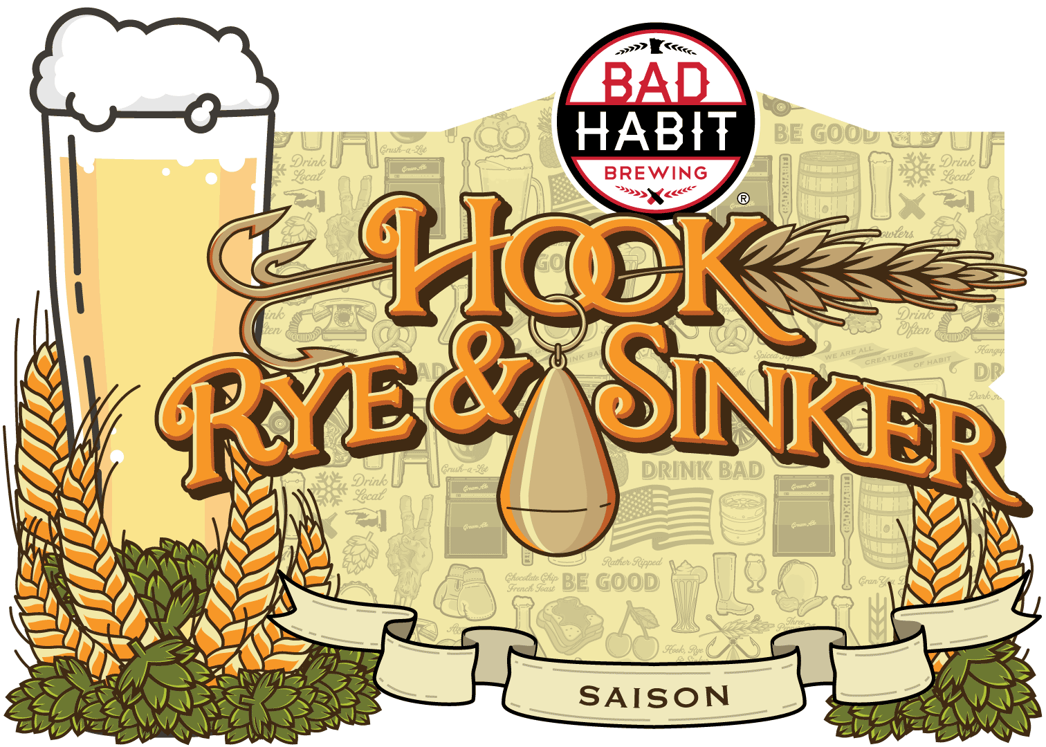 HOOKRYE & SINKER - Saison | 5% ABVWe brew this delicious ale for fishing opener. This year we missed it by one week. Just like fishing, sometimes you're on and sometimes you have to shoot for next week.