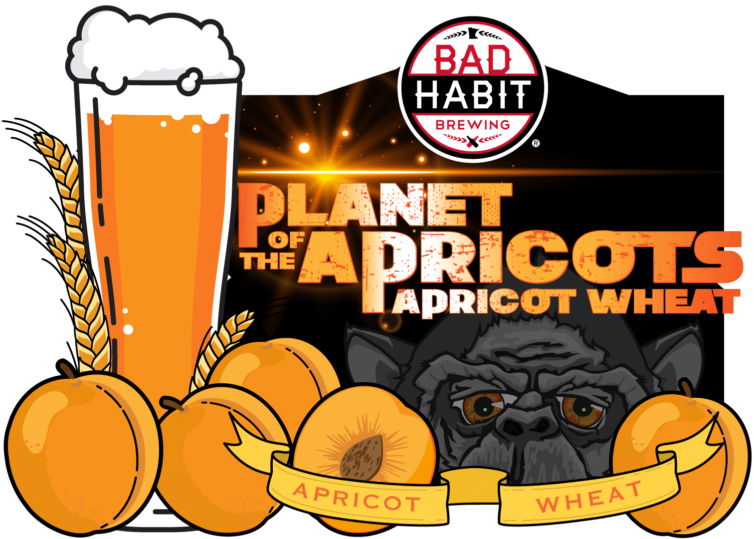 PLANET OF THEAPRICOTS - Apricot Wheat | 6% ABVSomewhere in the universe, there has to be something better than your old domestic beer. Has to be! We have found it and it is Planet of the Apricots. A beer with all the bready, malty characteristics of a good wheat beer, infused with all the delicious, sweet fruitiness of apricots. Light, fruity and refreshing, this beer drinks like it's from a different world.