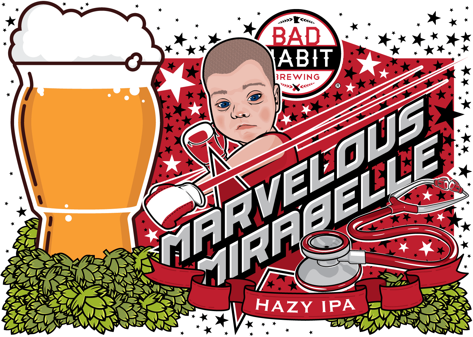 MARVELOUSMIRABELLE - American Hazy IPA | 6.9% ABVThis delicious IPA has used it's knockout combination of Amarillo, Citra, Simco and Calypso hops and lactose to become one of our main contenders. At 6.9% abv it is a heavy hitter and with it's pilsner malt it has a clean, refreshing finish. Originally brewed as a fundraiser for the fight against Zelleweger Syndrome, this beer has a lot of heart. It has become a crowd favorite, and to give everyone a shot at this brewser, we had to brew a rebatch. If you think you're a contender, order a pint and Marvelous Mirabelle will knock your socks off.