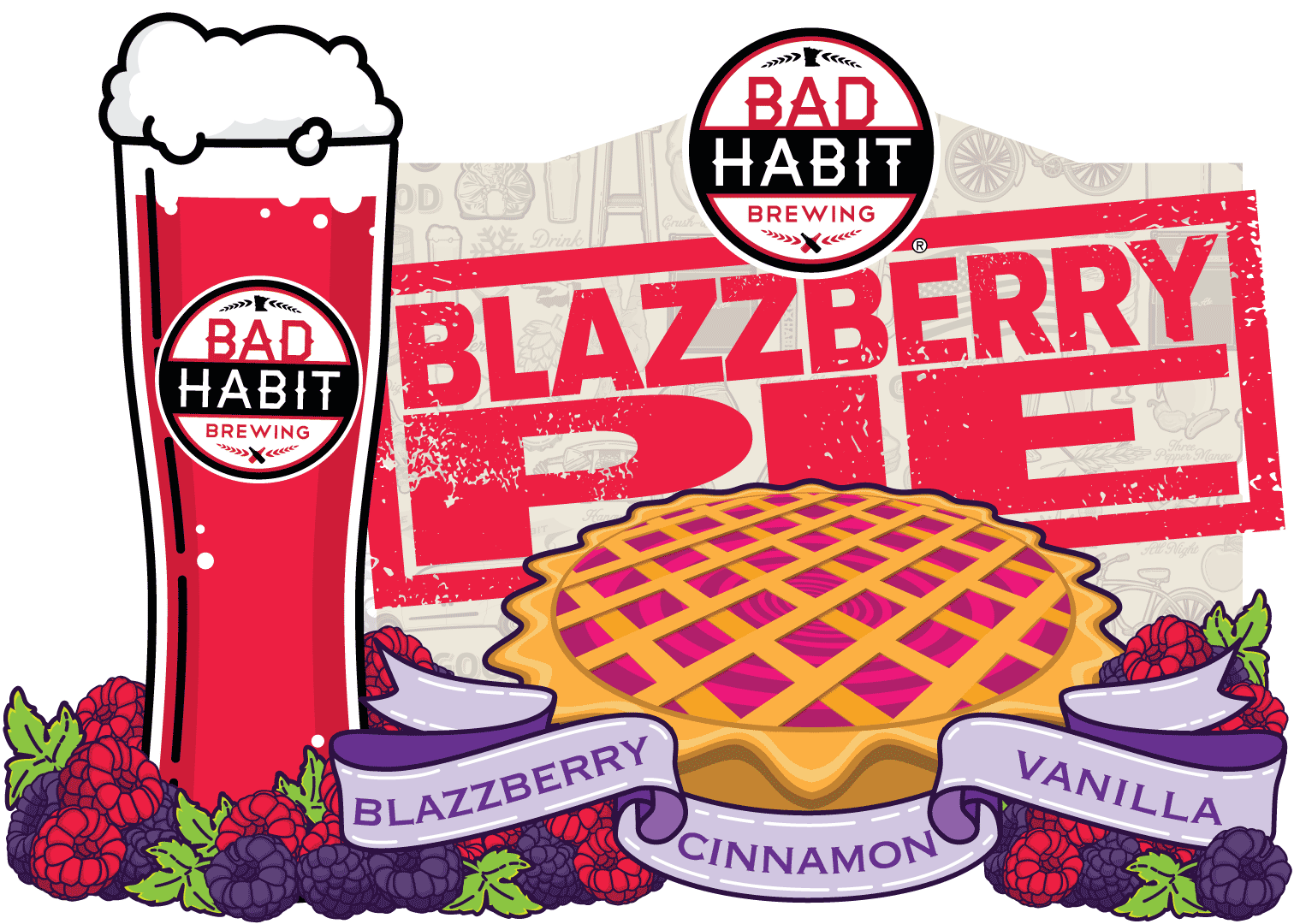 BLAZZBERRYPIE - Pastry Ale | 4% ABVThis one time, at the brewery, we took our blazzberry sour and infused it for this delicious pastry ale.You'd be surprised with what you can do with some well placed vanilla and cinnamon.