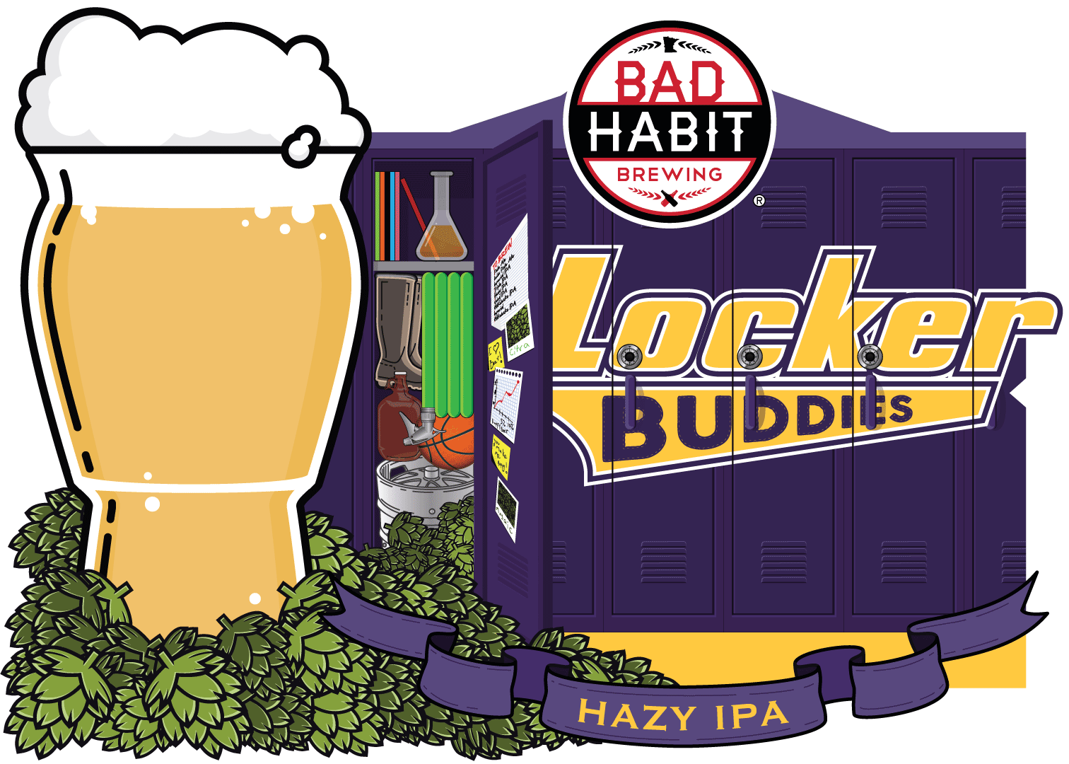 LOCKERBUDDIES - Hazy Double Dry Hopped IPA | 5.9% ABVFour boots, Three brewers gloves, Two brewers, One locker room. Who will be the champion of session beers? Old buddies Erik and Sean, from Blackstack brewing, have rekindled their brewmance and collaborated on a sessionable, hazy, double dry hopped IPA.
