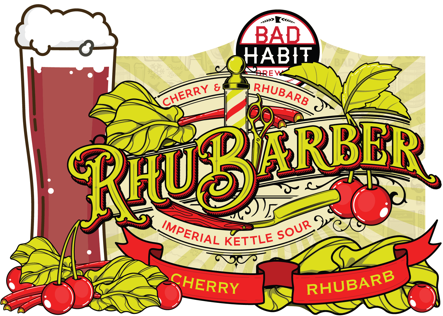 RHUBARBER - Fruited Imperial Kettle Sour | 8% ABVFruited with cherry & rhubarb, this kettle sour looks good & tastes good.