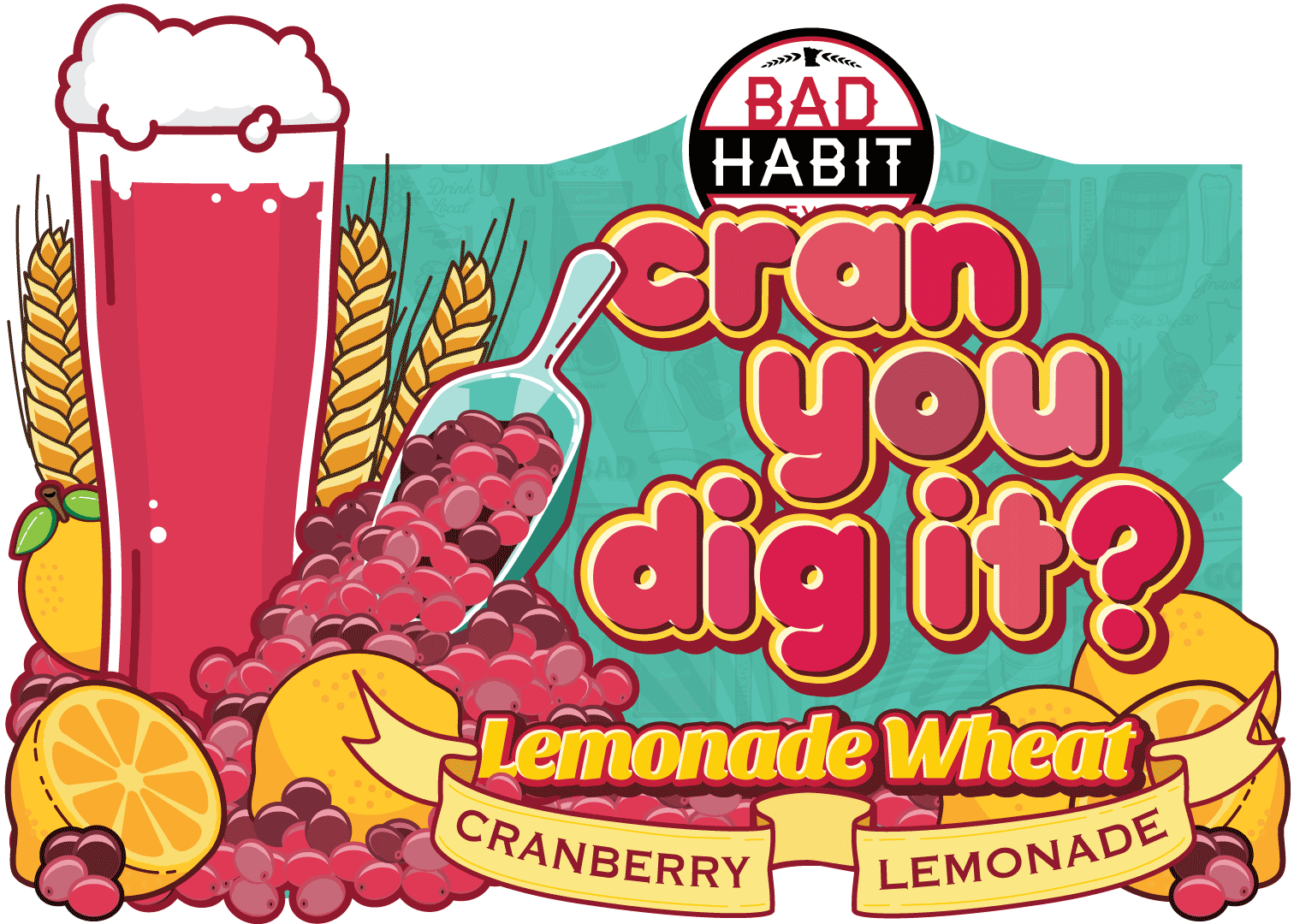 CRAN YOU DIG IT?LEMONADE WHEAT - Cranberry Lemonade Wheat | 6% ABVAll the bready, malty characteristics of a good wheat beer, infused with the delicious, tart fruitiness of cranberry and sweet refreshing lemonade. Light, fruity & refreshing!