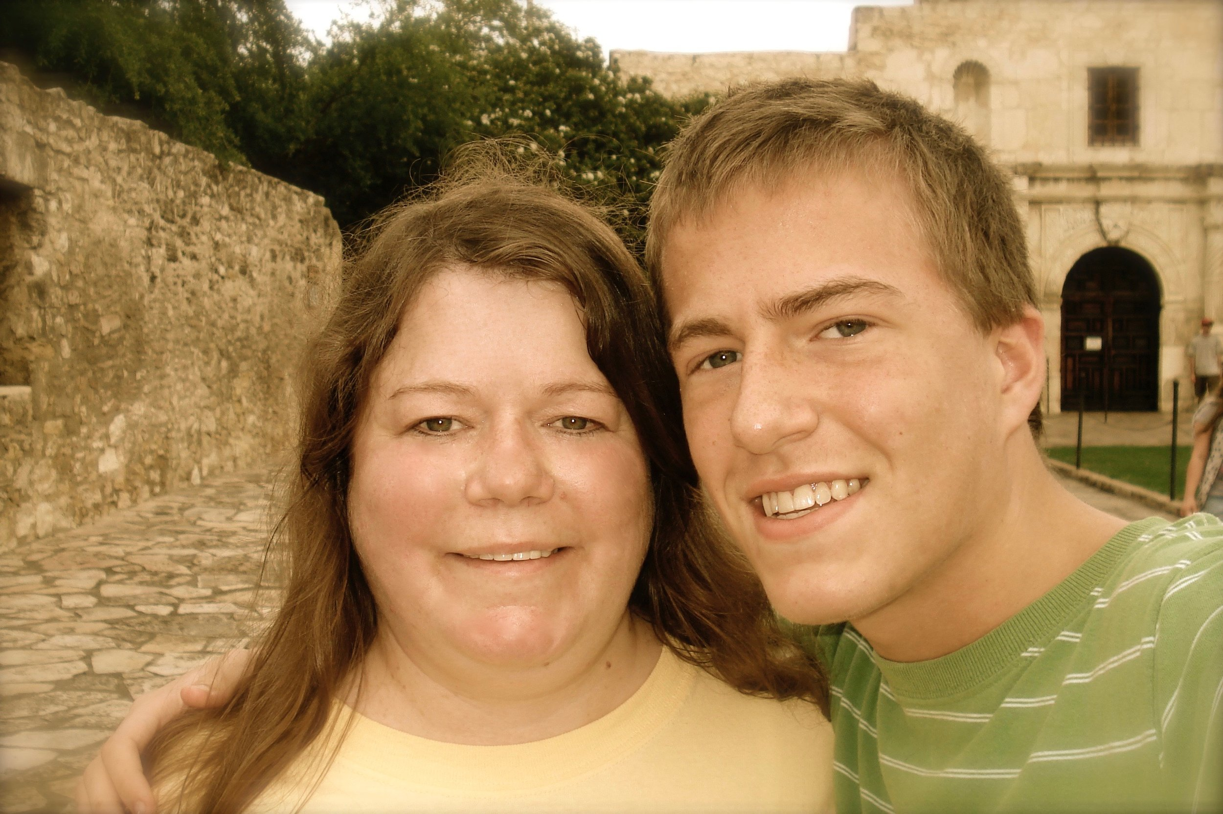 My mother and I. Photo taken at the Alamo in San Antonio, TX, circa 2009.