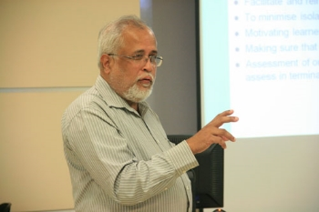 Prof Menon at the first session of the workshop.