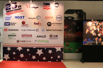 The 'photowall' of YE corporate sponsors