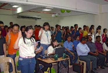 Students and tutors at the orientation in Ipoh.