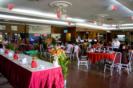 The dining hall ready for luncheon.