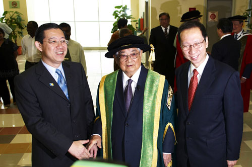 Gathered together, past and present chief ministers of Penang - (from left) Lim Guan Eng, Tun Lim and Tan Sri Dr Koh Tsu Koon.