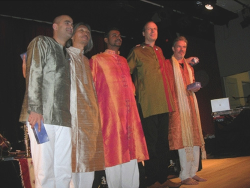 Prem Joshua (far right) with his fellow performers.