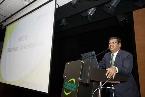 Penang Regional Office Director K Manoharan gives his welcome speech at the main campus.