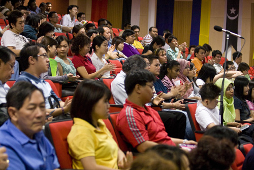 Part of the crowd at the student orientation in Penang.