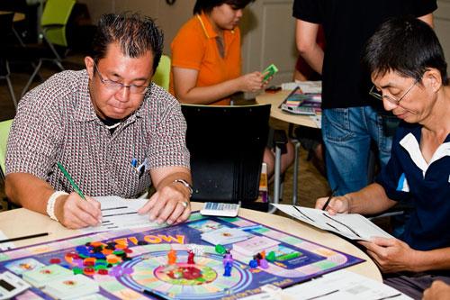 Participants having a go at the Cash Flow game.