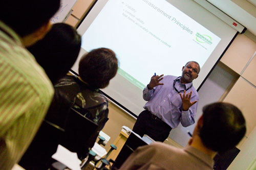 Dr Edwin conducts the workshp.