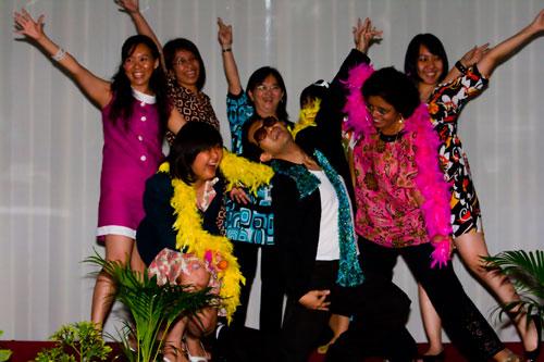 The colourful 'Mamma Mia' dance performance.