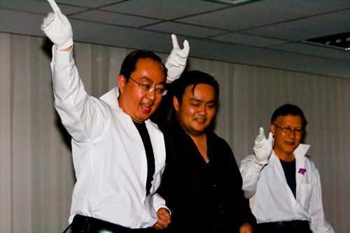 Prof Dato' Dr Ho Sinn Chye (right) and lecturers show their 'Saturday Night Fever' moves.