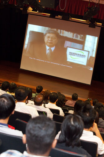 Students view welcoming address from the Vice Chancellor.
