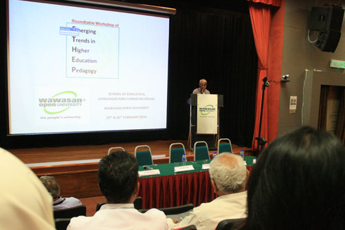 Prof Dhanarajan urges participants to engage students in the learning process.