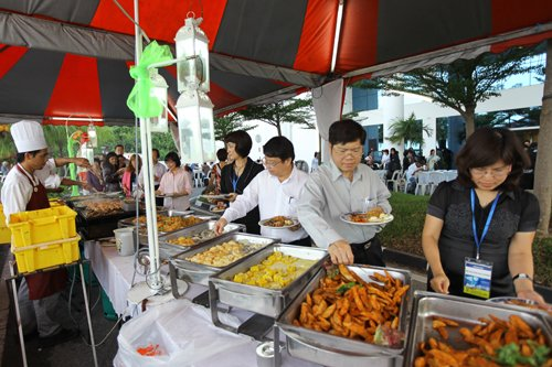 An array of local food at the dinner held at the main campus.