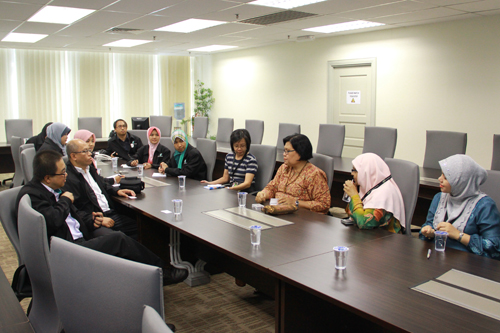 Learning & Library Services Director Pn Kamsiah Md Ali (3rd from right) of WOU at the meeting.