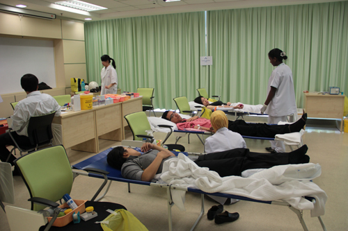 Staff of WOU participate in the blood donation drive at the main campus.