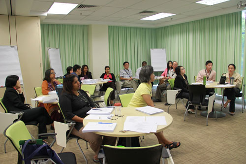 Academic and academic support staff attend the training.