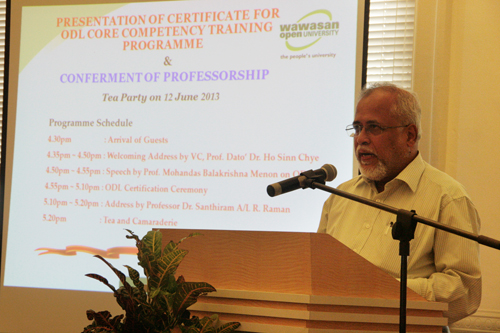 Prof Menon talks about the training programme.
