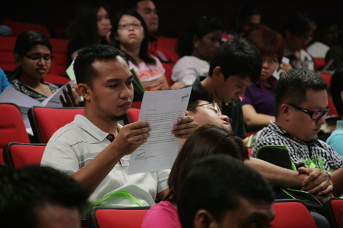 New students attend orientation at the main campus.