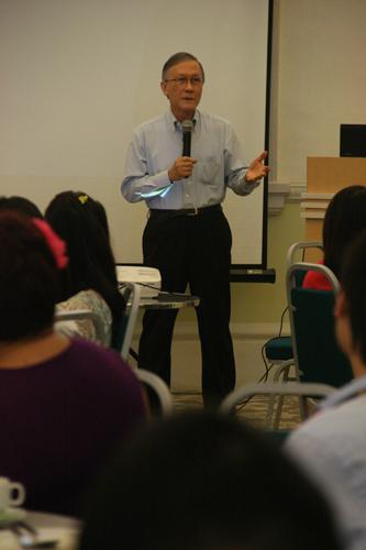 Prof Ho addresses the staff.