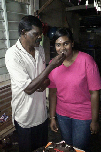 Uncle Raju with his daughter.