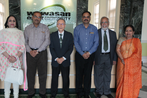 Prof Pathak (2nd from left) and delegation with WOU top management.