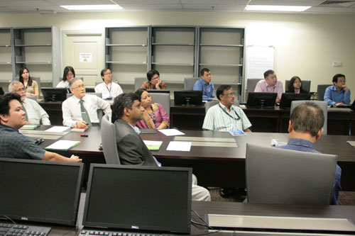 Prof Ho (in tie) briefs on WOU.