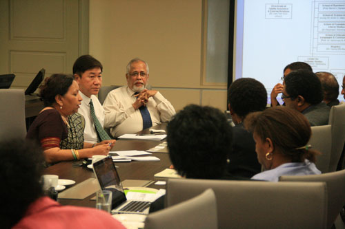 (From left to right) Prof Madhulika, Yeong and Prof Mohandas Menon offer their views.
