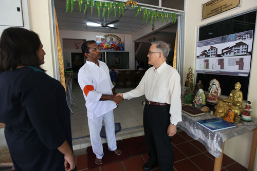 Prof Ho (right) greeted upon arrival by Mr Krish. At left is Jasmine Emmanuel, Deputy Dean of the School of Foundation & Liberal Studies.