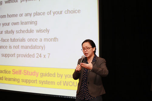 Assoc Prof Dr Wendy Bong addresses freshmen at the main campus in Penang.
