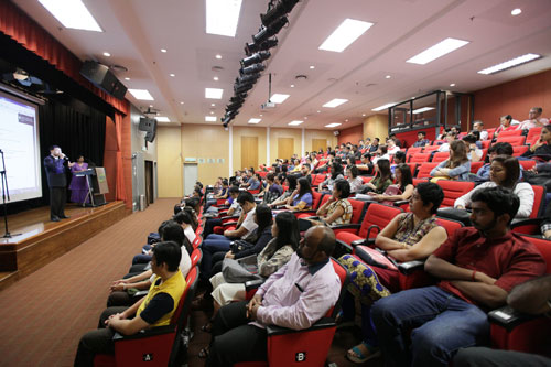 Welcoming the new students during the orientation at the main campus.