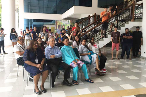 Staff and students watch a few song presentations. Seated front row (from left) - Jasmine, Prof Ho and Pan Bo Zhong.
